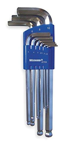 Westward 2CYC8 Ball End Hex Key Set Long Metric 9 PC