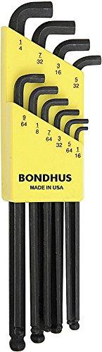 Bondhus 16538 Set of 10 Balldriver« Stubby L-wrenches sizes 116-14-Inch