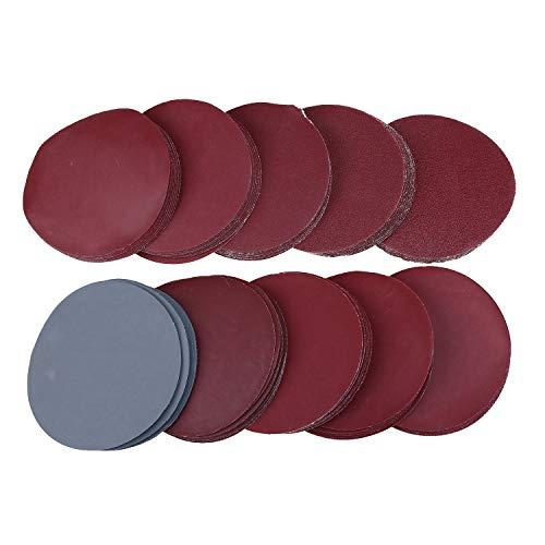 100PCS 3 Inch Sanding Discs Sandpaper Hook Loop Sander Disc Pads - 80 100 180 240 600 800 1000 1200 2000 3000 Grit Assortment