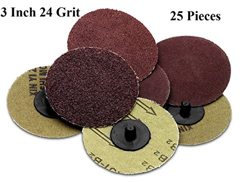 25 Pieces -3 Inch 24 Grit Roll Lock Sanding And Grinding Discs - For Rotary Tools Die Grinder Drill Carpenters Woodworking Paint Surface Prep Finishing Jobs - By Katzco