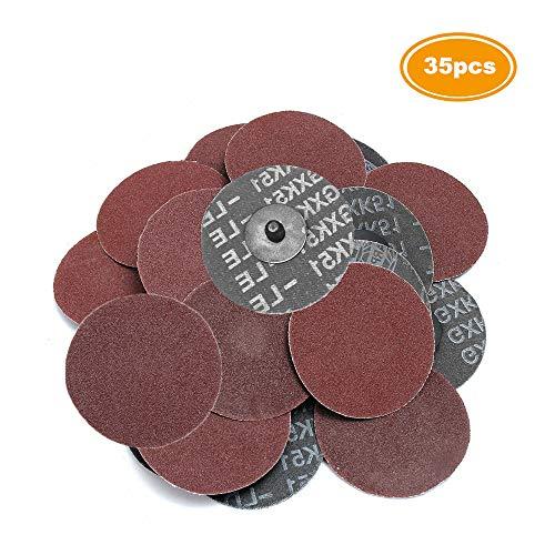 Saiper 35pcs 3 Inch 80 Grit Sanding Discs Roloc Roll Lock Aluminium Oxide Sanding and Grinding Discs for Surface Prep Strip Grind Polish Finish Burr Rust Paint Removal