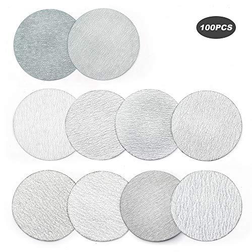 YUFUTOL 3 Inch 76mm Sanding Discs Sandpaper Pads Plate 60 80 100 120 180 240 320 400 600 1000 Grits Sandpapers for Hand Held Bowl Sander Pack of 100