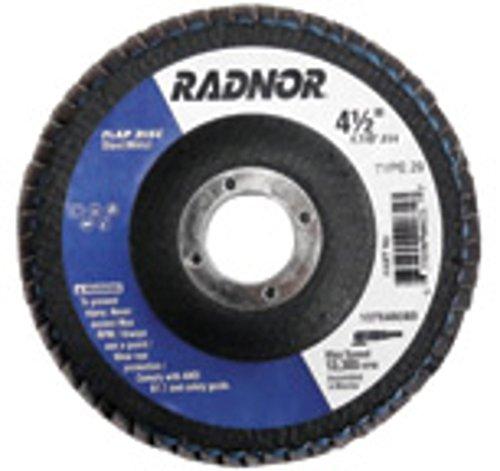 Radnor 4 12 X 78 60 Grit Zirconia Alumina Type 29 Flap Disc With Fiberglass Back  36EA
