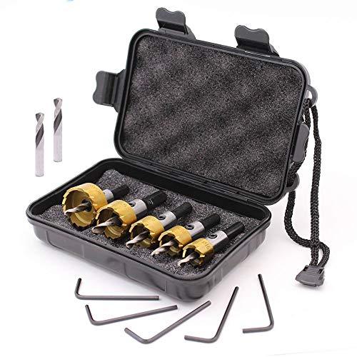 GORCHEN Titanium Hole Saw Cutter Tool Kit Set for Wood Plastic Soft Metal Steel 5 Pcs Carbide HSS