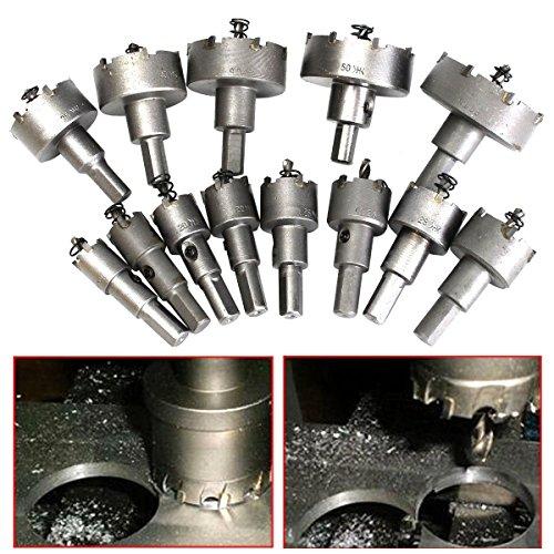 Plum Garden 13Pcs Stainless Steel Carbide Tip TCT Metal Drill Bit Hole Saw Set 16mm-53mm