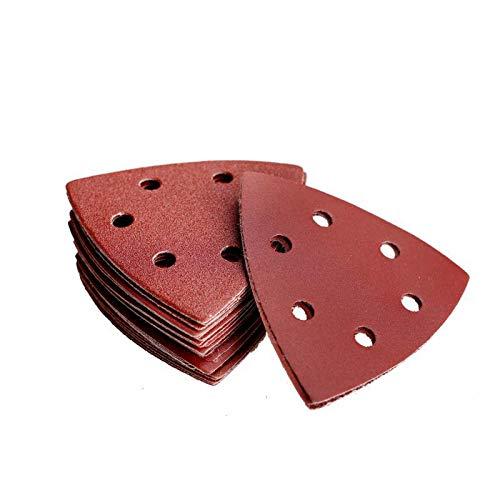Denveo 95mm 37 Inch Triangle Detail Dry Sanding Disc 6080120180240320 Grit Sandpaper Assortment Hook and Loop System Red Paint and Steel Sanding for Random Orbital Sander Pack of 60 6 Holes