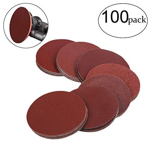 HIFROM 5 Inch Sanding Discs NO-Hole Hook and Loop 40 60 80 100 120 180 240 320 400 800 Grit Sandpaper Aluminum Oxide Random Orbital Sander Pads 100-Pack 