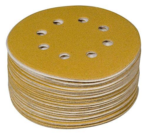 POWERTEC 44000XG-50 Assorted Grit Sanding Discs Hook and Loop Orbital Sander 5-Inch 8 Hole  10 Each of 80 100 120 150 220 Grit Aluminum Oxide Round Sand Paper Gold 50 Pack