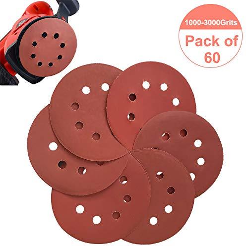 60 Pcs Sanding Discs 5 inch 8 Holes Hook and Loop -100012001500200025003000 Grit Assorted Sandpaper Orbital Sander Round Sand Paper
