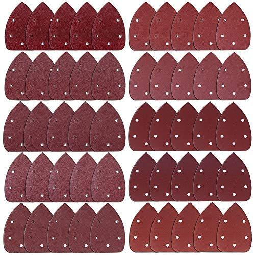 AUSTOR 50 Pieces Mouse Detail Sander Sandpaper Sanding Paper Hook and Loop Assorted 4060 80100 120180 240320 400800 Grits