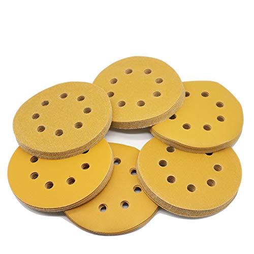 BAISDY 60Pcs 5 in Sanding Discs 8 Holes Hook and Loop Sandpaper Assortment 80 120 150 240 320 400 Grits for Random Orbital Sander