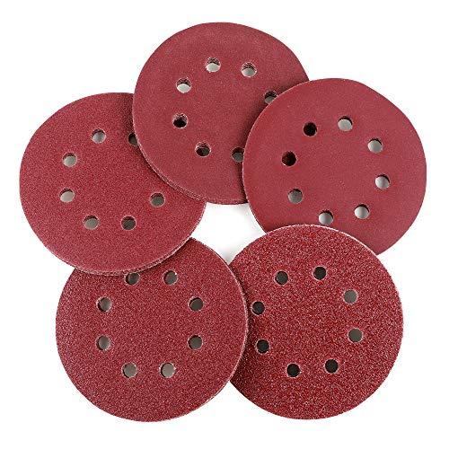 Coceca 100pcs Orbit Sander Sanding Discs 5-Inch 8-Hole Hook and Loop Sandpaper 20pcs Each 406080150240 Grits Sandpaper Fit for Random Orbit Sander Random Orbital Sander