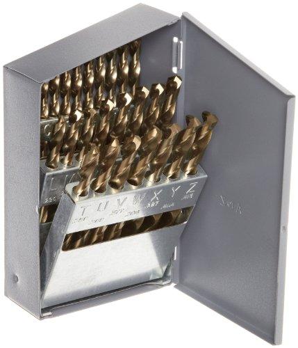 Chicago Latrobe 550 Series Cobalt Steel Jobber Length Drill Bit Set With Metal Case Gold Oxide Finish 135 Degree Split Point Letter Size 26-piece A - Z
