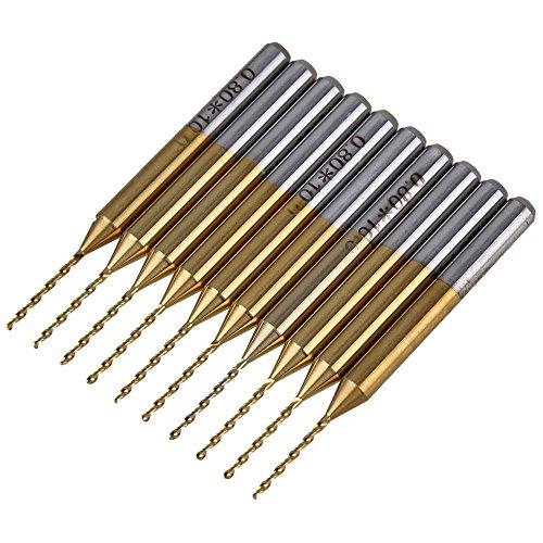 10pcs 3175mm Shank Titanium Coated Carbide Jewelry Drill Bit 08mm Blade