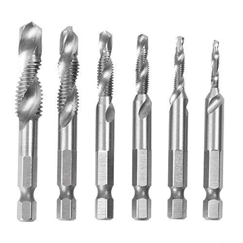 Mallofusa HSS Metric Hex Spiral Combination Drill Tap Bit Set Deburr Countersink Bit M3-M10 14¡À Hex Shank 6PCS