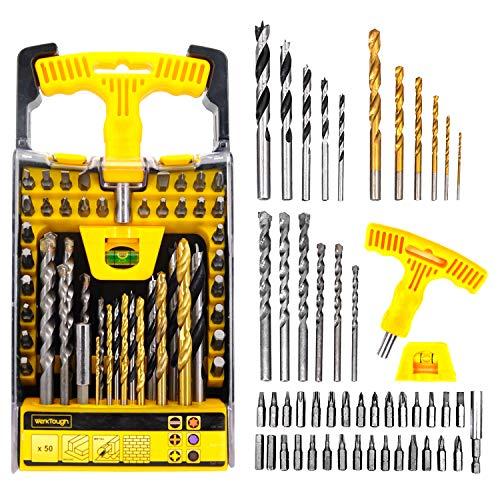 Uniteco 50 Piece Combination Drill Bits Set With Masonry Drill BitTwist Drill BitsScrewdriver BitsWood Drill Bits E01009