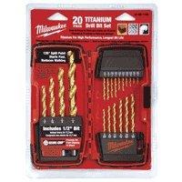 Milwaukee 48-89-1105 116-to-12-Inch Titanium-Coated 20-Piece Twist Drill Bit Assortment
