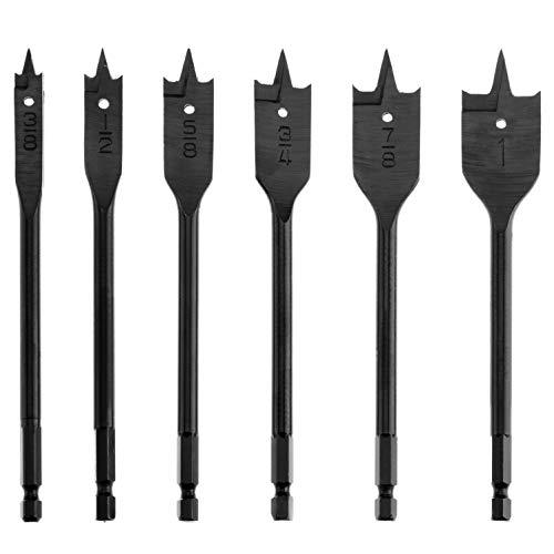 Spade Drill Bit Set SUNGATOR 38-Inch to 1-Inch High Speed Flat Wood Boring Bits Quick-Change Hex Shank 6-Piece