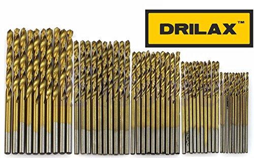 DRILAX 50 pcs 1mm 15mm 2mm 25mm 3mm Titanium Coated HSS High Speed Steel Drill Bit Tool Set
