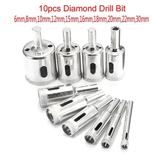 10pcs diamond hole saw drill bit set 6mm-30mm for tile ceramic