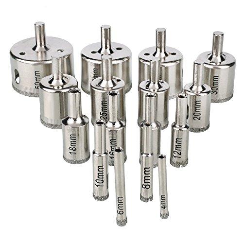 WORTOOL - 16 Pcs Diamond Coated Core Hole Saw Drill Bit Set Extractor Remover Set Tools For Tiles Glass Ceramic etc 16 Pcs