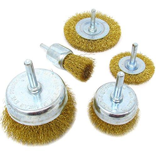 5pk Wire Brush Wheel Cup Drill Attachment Set