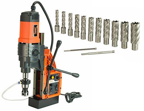 Cayken KCY-48-2WDO 18in Magnetic Drill Press with 1700W Variable Speed Motor Weldon Shank 13 Piece 2in Cut Depth Annular Cutter Kit