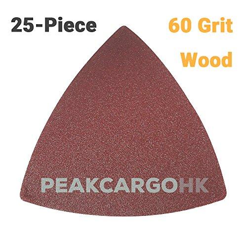 25-Piece 60-Grit Rough Triangular Hook Loop Abrasive Paper Sandpaper Sanding Sheets - Wood Universal Oscillating Fein Dremel Bosch Makita Rockwell