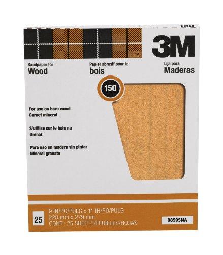 3M Pro-Pak Garnet Sanding Sheets 150A-Grit 9-Inch by 11-Inch