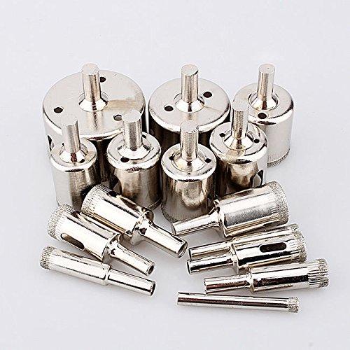 Yosoo 15pcs Diamond tool drill bit hole saw set for glass ceramic marble from 6-50mm