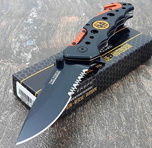 TAC-FORCE KNIVES Assisted Opening Rescue Knives BLACK ORANGE EMT Tactical Knife 1 Knife