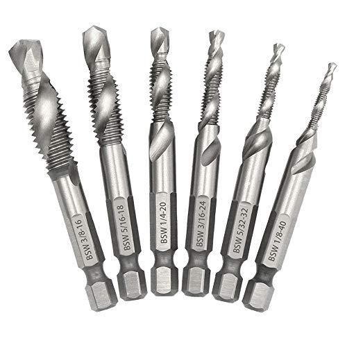 Saiper 6pcs Drill Tap Combination Bit Set 18-38 with 14 Hex Shank HSS 4341 Drill Tap Countersink Screw Thread Bits