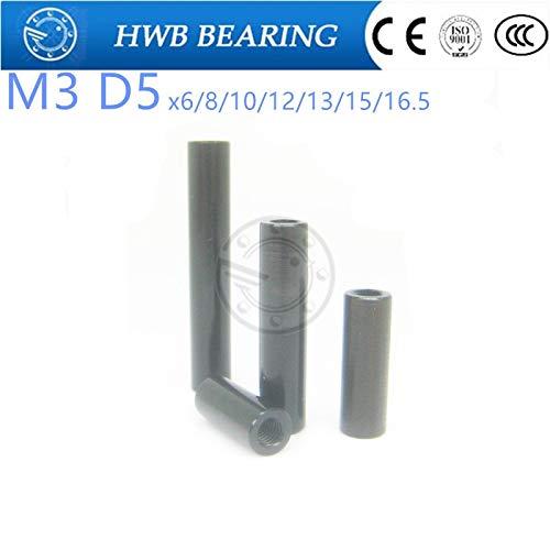 Ochoos M3 x 6mm 8mm 10mm 12mm 13mm 15mm 165mm10 PCS M3 od5mm Black Aluminum Alloy StandoffSpacer Stud Fastener Aluminum Column - Length M3x8