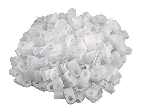 XLX 200pcs White Nylon R-Type Cable Clamp Fastener for 316 Inch 48mm Dia Wire Tube  Plastic Wire Cord Clip Fixer