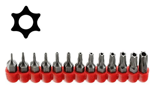 McKay Multifunction 13 Pc Star 6 Point Security Tamper Proof Torx Driver Bit Set- Securely screws onto most ¼ Screwdrivers Sockets Power Tool Shanks