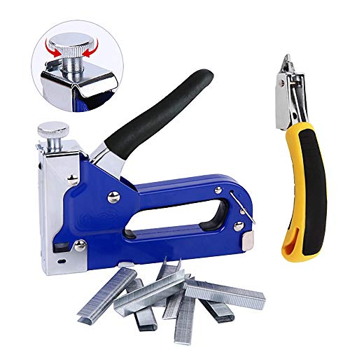 3-in-1 Staple Gun Upholstery Stapler Heavy Duty Powercrown Tacker Hand Operated Stainless Steel Brad Nail Gun Tool for Fixing Material Carpentry Furniture Doors And Windows 1050 Staples Attache