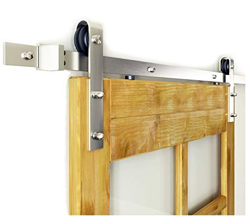 DIYHD SS13 6FT Nickel Steel Sliding Wood Hardware Brushed Barn Track Single Door kit