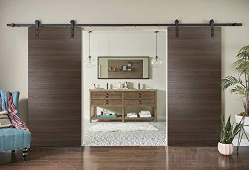 Planum 0010 Double Barn Doors 64 x 84 Rail 13FT Interior Sliding Closet Wood Chocolate Ash with Hangers Hardware Set