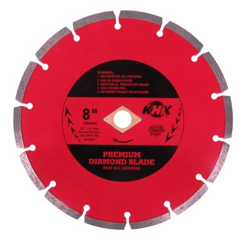 KHK SMP08090 Premium 8-Inch Multi-Purpose WetDry Segmented Diamond Blade with 58-78 Arbor for Concrete Brick Stone