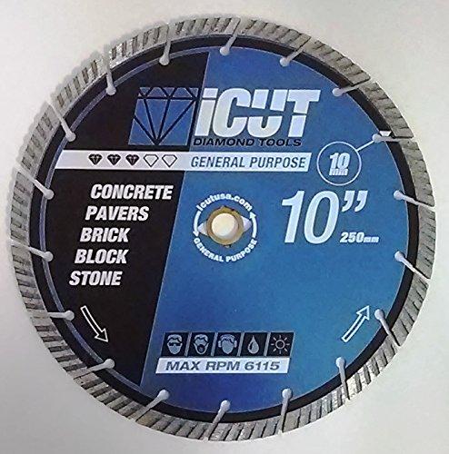 iCut Supreme Turbo Diamond Blade 10mm High Segment All Purpose for Concrete Block Brick Pavers 10 Inch