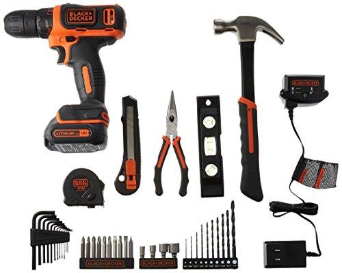BLACKDECKER 12V Drill Home Tool Kit 42 Piece BCPK1249C