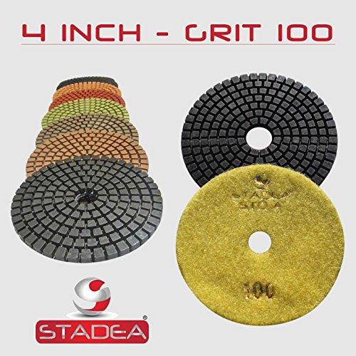 STADEA Grit 100 2 Pieces 4 Diamond Polishing Pads for Granite Marble Concrete Stone polishing Wet Grinder