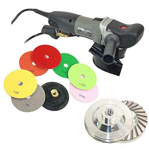 Wet Grinder Polisher Dust Shroud Cup Wheel 8 pc 5 Diamond Polishing Pad Set