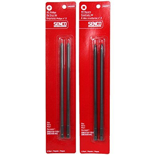 Senco EA03012 Square and EA03002 Phillips Duraspin Drive Bits 2-2 Packs