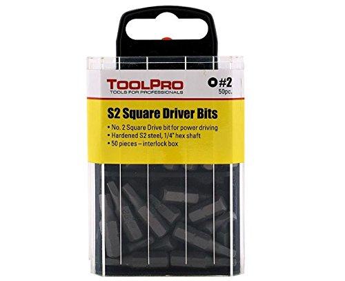 ToolPro 2 Square Drive Bits 50 pack in Interlocking Storage Box