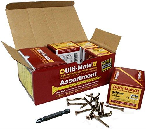 Pack of 2400 x 3mm X 25mm Ulti-Mate II High Performance Woodscrews Pozi  Bit