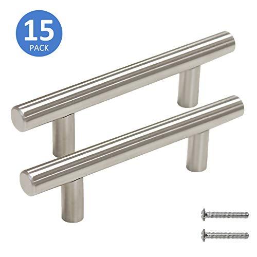 3 Screw Spacing Cabinet Pulls Brushed Nickel Finish Kitchen Cupboard Drawer Handles 15 Pack