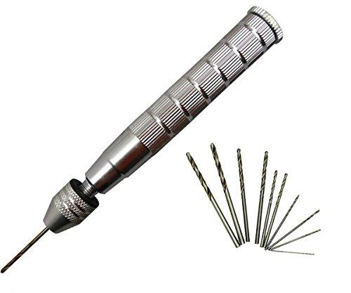 Semi-Automatic Mini Manual Hand Drill 03-32mm Chuck with 10 Pcs Micro Twist Drill Bits