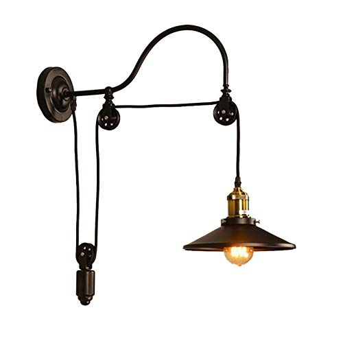 TEHWDE Wall Lamp Retro CreativePulley Vintage Wall Light Iron Industrial Retro Wall Lamp Single Head Lifting Pulley Light Fixture Adjustable Wall Mount Sconce Perfect for Home Coffee Bar Club