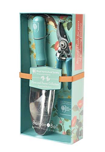 Burgon Ball Garden Trowel Pocket Secateurs Pruner Set in Flora Fauna Design  British RHS Gradening Tools Gift Set
